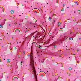 Tissu coton Makower UK Daydream Unicorns - rose x 10cm