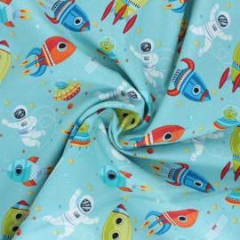 Tissu coton Makower UK Outer Space Scene - bleu ciel x 10cm