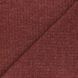 Lurex Ribbed knit fabric - terracotta Liv x 10cm