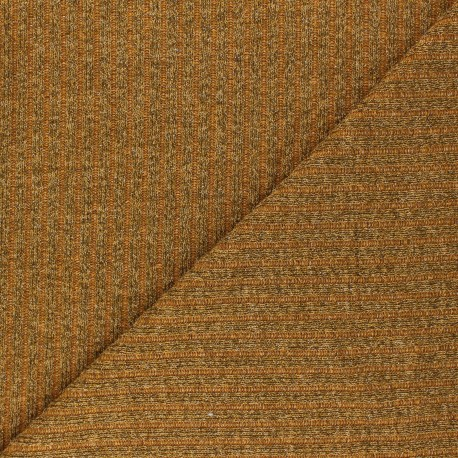 Lurex Ribbed knit fabric - mustard yellow Liv x 10cm