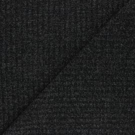 Lurex Ribbed knit fabric - black Liv x 10cm