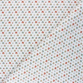 Cretonne cotton fabric - white/rust Coboni x 10cm