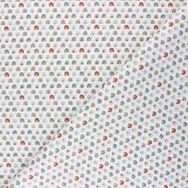 Tissu coton cretonne Coboni - blanc/rouille x 10cm