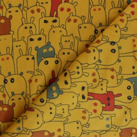 Tissu Velours minkee doux Petits Monstres - jaune moutarde x 10cm