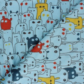Tissu Velours minkee doux Petits Monstres - bleu clair x 10cm