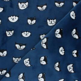 Tissu Velours minkee doux Simon le chat - bleu roi x 10cm