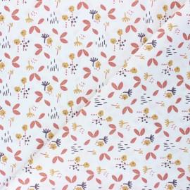 Tissu coton cretonne Fuzy - rouille x 10cm