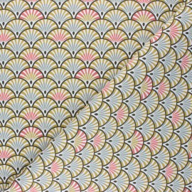 Cretonne cotton Fabric - ochre Yona x 10cm