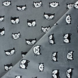 Minkee velvet fabric - grey Simon le chat x 10cm