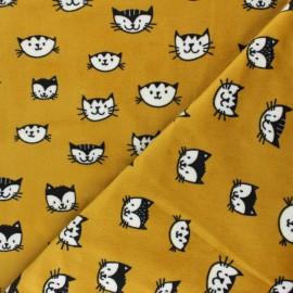 Tissu Velours minkee doux Simon le chat - jaune moutarde x 10cm