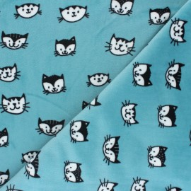 Tissu Velours minkee doux Simon le chat - bleu céladon x 10cm