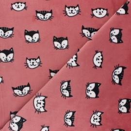 Tissu Velours minkee doux Simon le chat - rose x 10cm