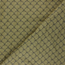 Tissu coton cretonne Khol - jaune moutarde x 10cm