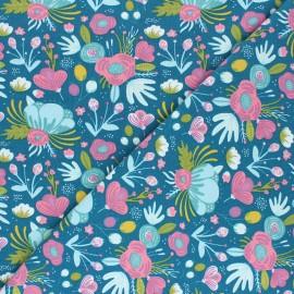 Tissu jersey Le jardin de Kalmie - bleu lagon x 10cm