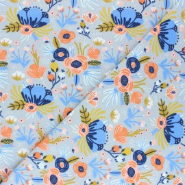 Poppy Jersey fabric - grey Flower Bouquet x 10cm
