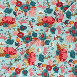 Tissu jersey Poppy Flower Bouquet- bleu céladon x 10cm