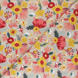 Poppy Jersey fabric - taupe Flower Bouquet x 10cm
