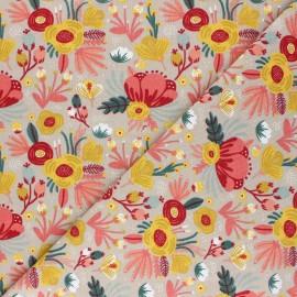 Tissu jersey Poppy Flower Bouquet- taupe x 10cm