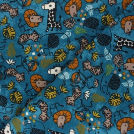 Poppy French Terry fabric - blue Safari Animals x 10cm