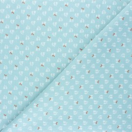 Cretonne cotton Fabric - light blue Lorio x 10cm