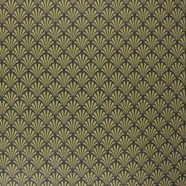 Coated cretonne cotton fabric - mustard yellow Khol x 10cm