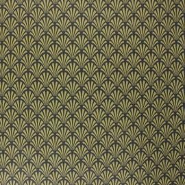 Tissu coton cretonne enduit Khol - jaune moutarde x 10cm