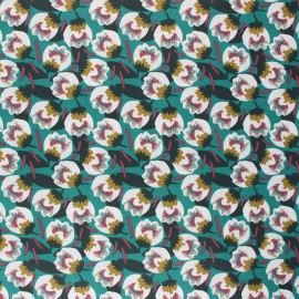 Coated cretonne cotton fabric - emerald green Dimeo x 10cm