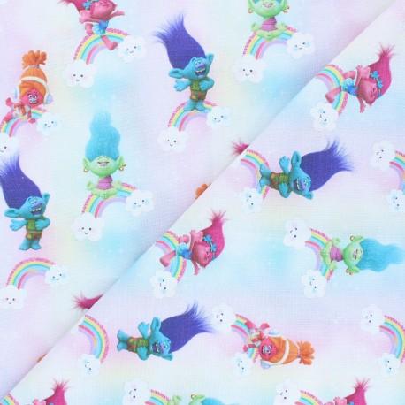Cretonne cotton fabric - multicolor Les trolls x 10 cm