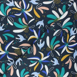 Tissu coton cretonne Lisbibi - bleu nuit x 10cm