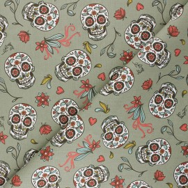 Cretonne cotton Fabric - khaki green Calaveras x 10cm