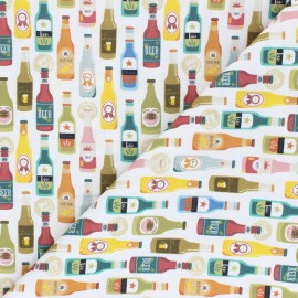Cretonne cotton fabric - white Beer collection x 10 cm