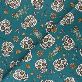 Tissu coton cretonne Calaveras - bleu canard x 10cm