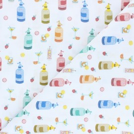 Cretonne cotton fabric - white Summer cocktails x 10 cm