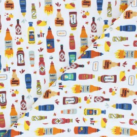 Cretonne cotton fabric - white Hot sauce x 10 cm