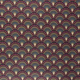 Coated cretonne cotton fabric - eggplant Ginza x 10cm