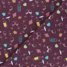 Cretonne cotton fabric - burgundy Wine tasting x 10 cm