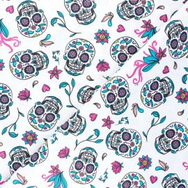 Cretonne cotton Fabric - white Calaveras x 10cm