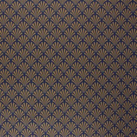 Coated cretonne cotton fabric - camel Khol x 10cm
