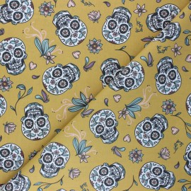 Cretonne cotton Fabric - mustard yellow Calaveras x 10cm