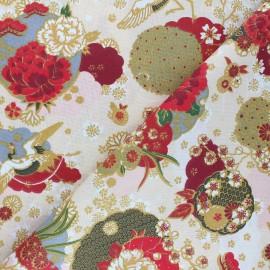 Cretonne cotton Fabric - ivory Ikebana x 10cm