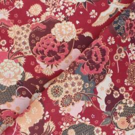 Cretonne cotton Fabric - red Ikebana x 10cm