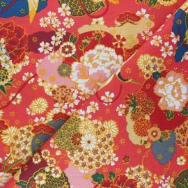 Cretonne cotton Fabric - orange Ikebana x 10cm