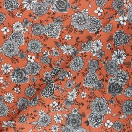 Cretonne cotton Fabric - rust Floral day x 10cm