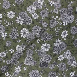 Cretonne cotton Fabric - khaki green Floral day x 10cm