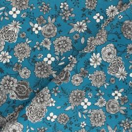 Cretonne cotton Fabric - duck blue Floral day x 10cm