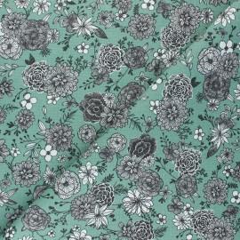 Cretonne cotton Fabric - almond green Floral day x 10cm