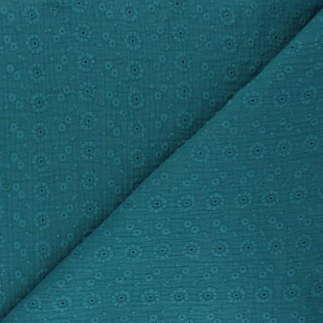 Tissu double gaze de coton brodé Suzy - bleu paon x 10cm