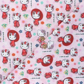 Cretonne cotton fabric - pink Japanese Kitty x 10 cm