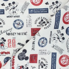 Cretonne cotton fabric - greige Vintage Mickey x 10 cm