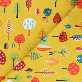 Tissu coton Makower UK Folk Friends Trees - jaune moutarde x 10cm
